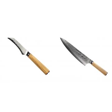Loupací nůž Seburo HOKORI Damascus 90mm + Šéfkuchařský nůž Seburo HOKORI Damascus 230mm