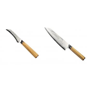 Loupací nůž Seburo HOKORI Damascus 90mm + Šéfkuchařský nůž Seburo HOKORI EDGE Damascus 200mm