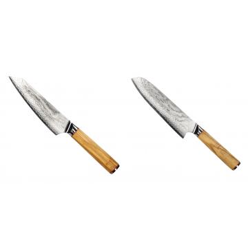 Šéfkuchařský nůž Seburo HOKORI EDGE Damascus, 155mm + Santoku nůž Seburo HOKORI Damascus 180mm