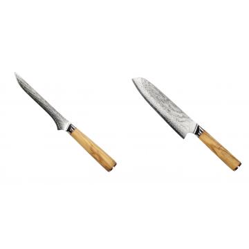 Vykosťovací nůž Seburo HOKORI Damascus 130mm + Santoku nůž Seburo HOKORI Damascus 180mm