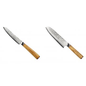 Univerzální nůž Seburo HOKORI EDGE Damascus 130mm + Santoku nůž Seburo HOKORI Damascus 180mm