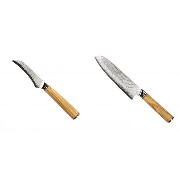 Loupací nůž Seburo HOKORI Damascus 90mm + Santoku nůž Seburo HOKORI Damascus 180mm