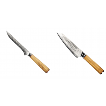 Vykosťovací nůž Seburo HOKORI Damascus 130mm + Šéfkuchařský nůž Seburo HOKORI EDGE Damascus, 155mm
