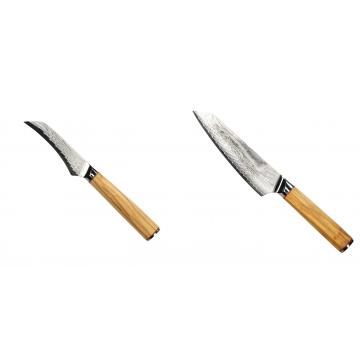 Loupací nůž Seburo HOKORI Damascus 90mm + Šéfkuchařský nůž Seburo HOKORI EDGE Damascus, 155mm