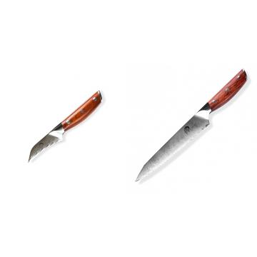 Japonský nůž na okrajování ovoce a zeleniny Dellinger Rose-Wood Damascus, 70mm + Nůž na chléb a pečivo Dellinger Rose-Wood Damascus, 210mm