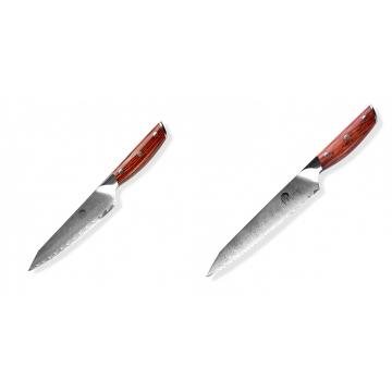Japonský univerzální nůž Dellinger Rose-Wood Damascus, 130mm + Nůž na chléb a pečivo Dellinger Rose-Wood Damascus, 210mm