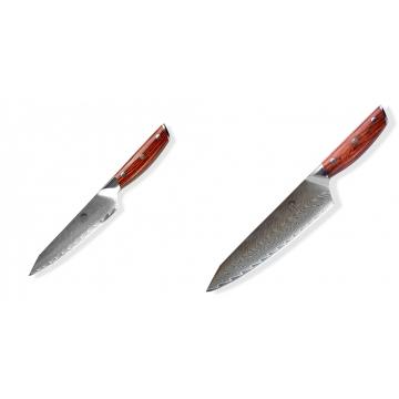 Japonský univerzální nůž Dellinger Rose-Wood Damascus, 130mm + Japonský nůž na maso Gyuto / Chef Kiritsuke Dellinger Rose-Wood Damascus, 215mm