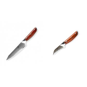 Japonský univerzální nůž Dellinger Rose-Wood Damascus, 130mm + Japonský nůž na okrajování ovoce a zeleniny Dellinger Rose-Wood Damascus, 70mm