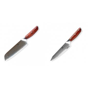 Japonský univerzální nůž SANTOKU / Chef Dellinger Rose-Wood Damascus, 175mm + Japonský univerzální nůž Dellinger Rose-Wood Damascus, 130mm