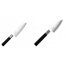 Santoku nůž KAI Wasabi Black (6716S), 165 mm + Wasabi Black Deba...