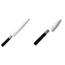 Wasabi Black Nůž na pečivo KAI 230mm + Wasabi Black Deba KAI...