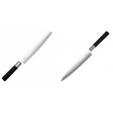 Wasabi Black Nůž na pečivo KAI 230mm + Plátkovací nůž KAI Wasabi...